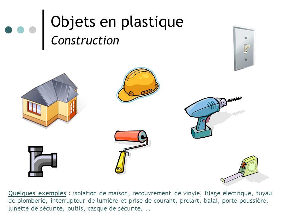 Objets en plastique Construction Quelques exemples : isolation de maison, recouvrement de vinyle, filage électrique, tuyau de plomberie, interrupteur