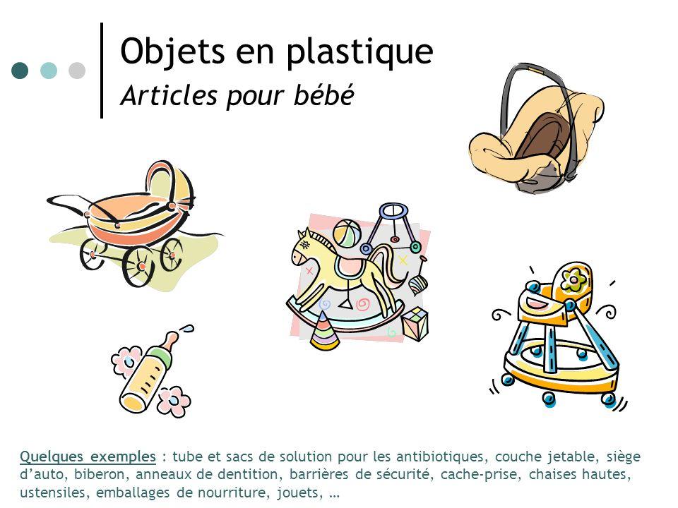 Objets en plastique Articles pour bébé Quelques exemples : tube et sacs de solution pour les antibiotiques, couche jetable, siège dauto, biberon, anne