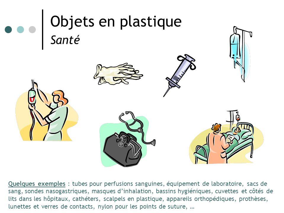 Objets en plastique Santé Quelques exemples : tubes pour perfusions sanguines, équipement de laboratoire, sacs de sang, sondes nasogastriques, masques