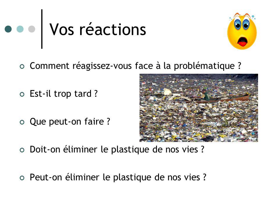 Vos réactions Comment réagissez-vous face à la problématique ? Est-il trop tard ? Que peut-on faire ? Doit-on éliminer le plastique de nos vies ? Peut