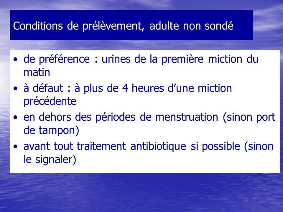 Conditions de prélèvement, adulte non sondé de préférence : urines de la première miction du matin à défaut : à plus de 4 heures dune miction précédente en dehors des périodes de menstruation (sinon port de tampon) avant tout traitement antibiotique si possible (sinon le signaler)