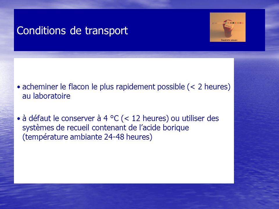 Conditions de transport acheminer le flacon le plus rapidement possible (< 2 heures) au laboratoire à défaut le conserver à 4 °C (< 12 heures) ou util
