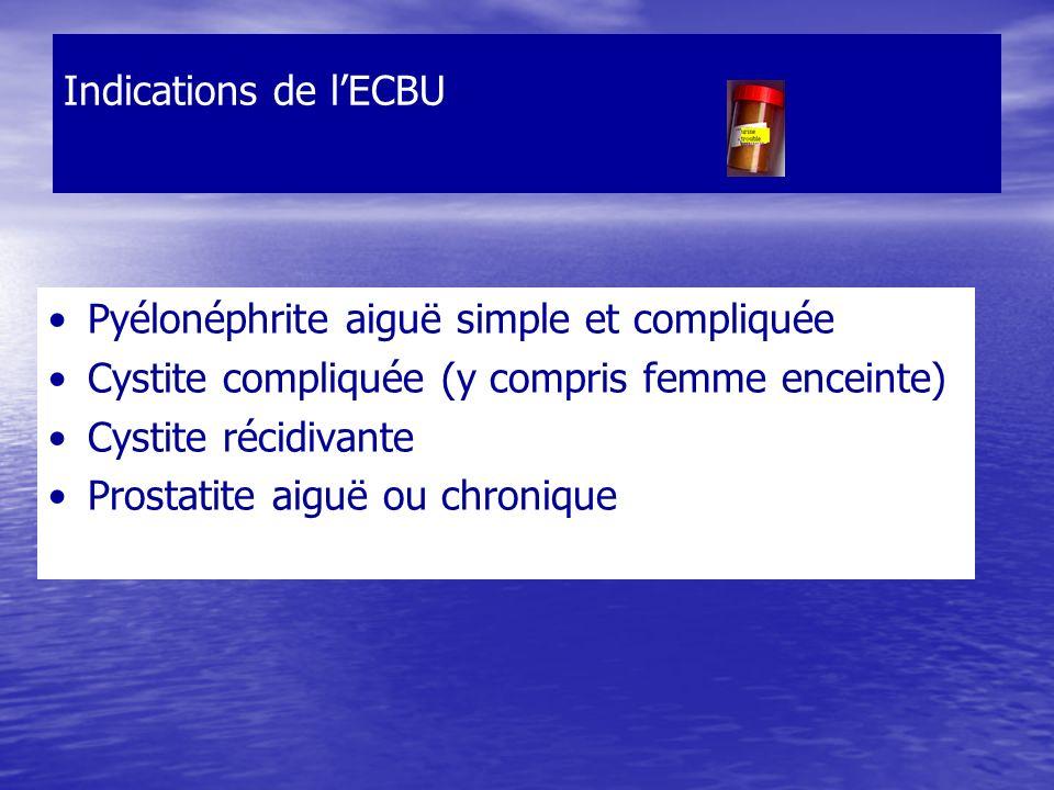 Indications de lECBU Pyélonéphrite aiguë simple et compliquée Cystite compliquée (y compris femme enceinte) Cystite récidivante Prostatite aiguë ou ch