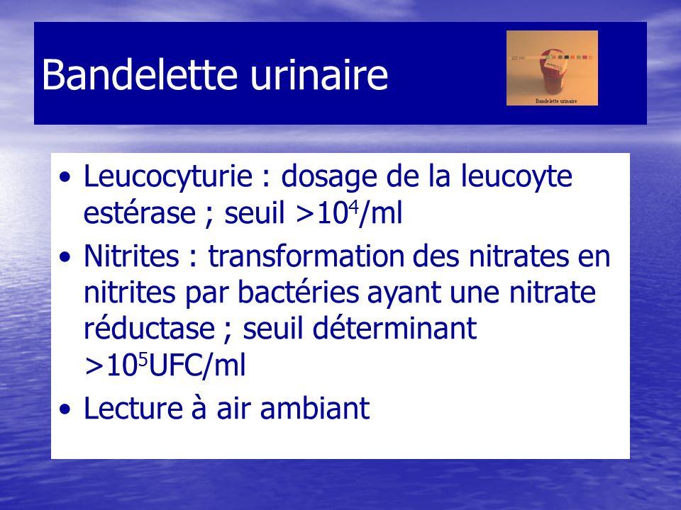 Bandelette urinaire Leucocyturie : dosage de la leucoyte estérase ; seuil >10 4 /ml Nitrites : transformation des nitrates en nitrites par bactéries ayant une nitrate réductase ; seuil déterminant >10 5 UFC/ml Lecture à air ambiant