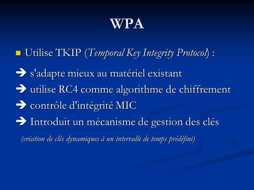 WPA Utilise TKIP (Temporal Key Integrity Protocol) : Utilise TKIP (Temporal Key Integrity Protocol) : s'adapte mieux au matériel existant s'adapte mie