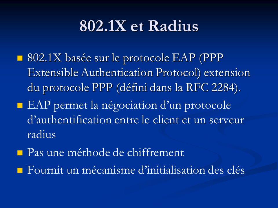 802.1X et Radius 802.1X basée sur le protocole EAP (PPP Extensible Authentication Protocol) extension du protocole PPP (défini dans la RFC 2284). 802.