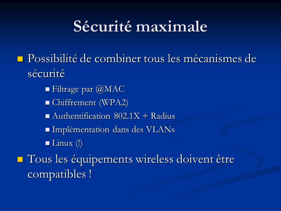Sécurité maximale Possibilité de combiner tous les mécanismes de sécurité Possibilité de combiner tous les mécanismes de sécurité Filtrage par @MAC Fi