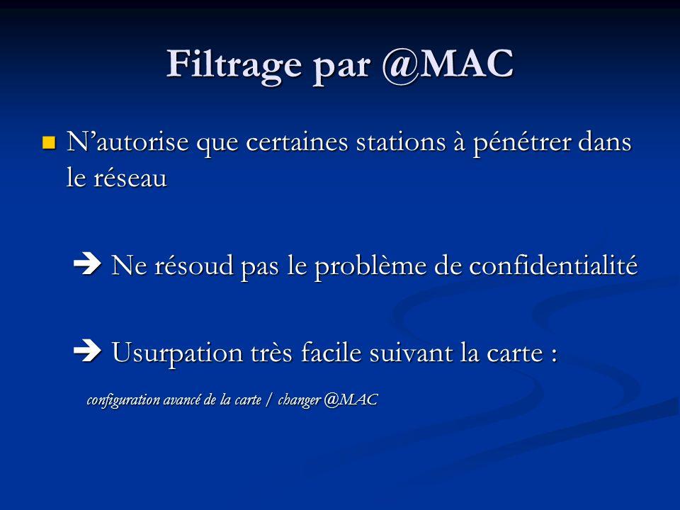 Filtrage par @MAC Nautorise que certaines stations à pénétrer dans le réseau Nautorise que certaines stations à pénétrer dans le réseau Ne résoud pas