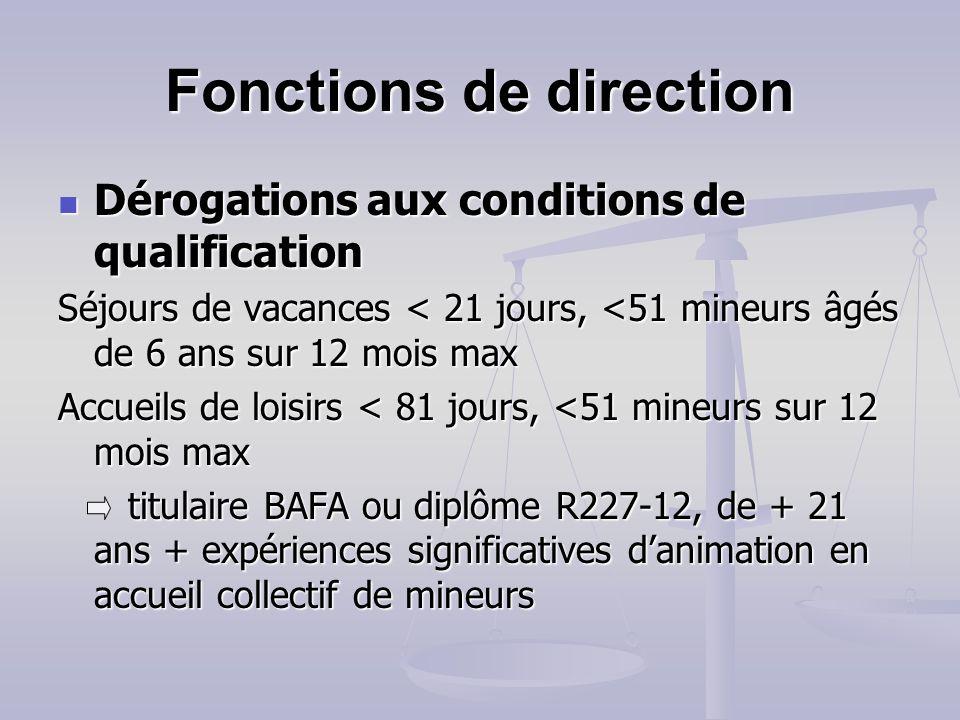 Fonctions de direction Qualification QualificationBAFD Un des titres/diplômes de larrêté du 9 février 2007 Accueils de loisirs de - de 50 enfants, per
