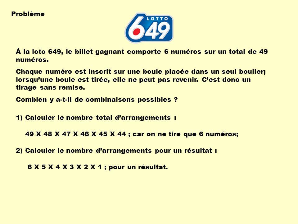 Problème À la loto 649, le billet gagnant comporte 6 numéros sur un total de 49 numéros.