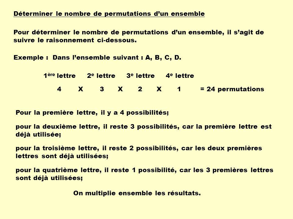 Problème 2 e étape : Calculer le nombre darrangements pour un résultat; PrésidentSecrétaireTrésorier 3 X 2 X 1= 6 arrangements 1 ère étape : On calcule le nombre total darrangements : 60 arrangements Pour un résultat de 3 postes, il y a 6 manières différentes de les disposer.