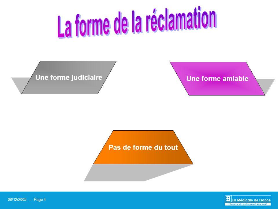 08/12/2005 – Page 5 Titre de la présentation 08/12/2005 – Page 5 Un classement sans suite Une transaction amiable La judiciarisation