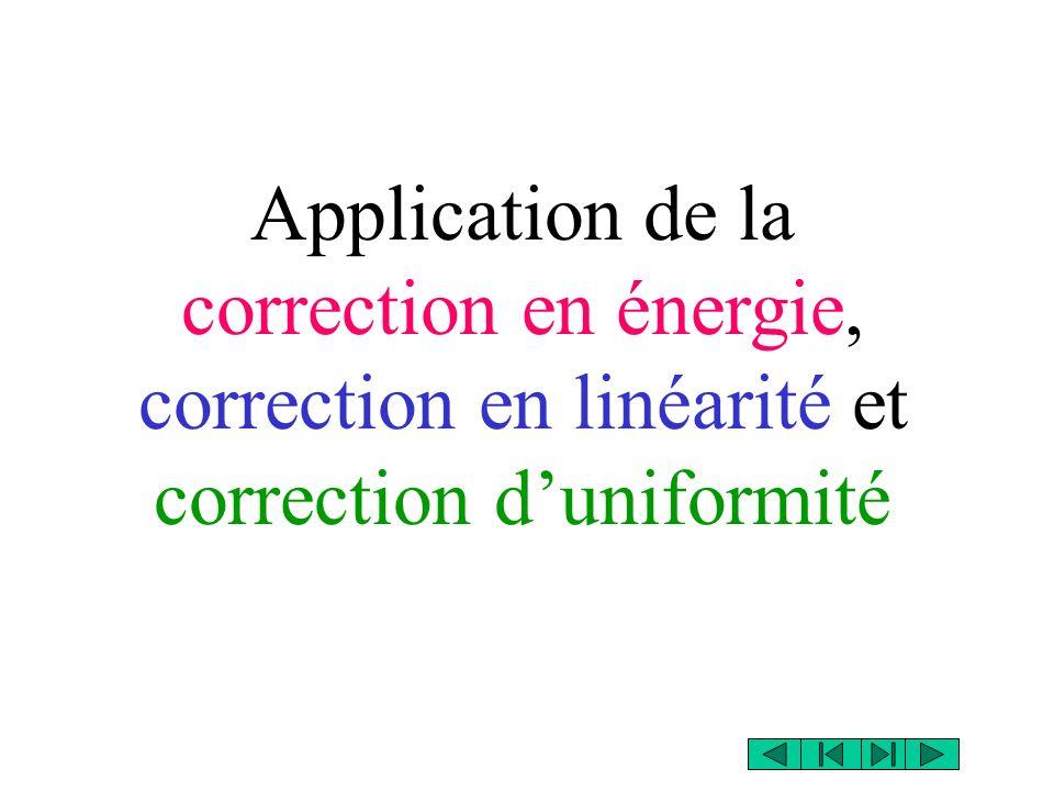 Application de la correction en énergie, correction en linéarité et correction duniformité
