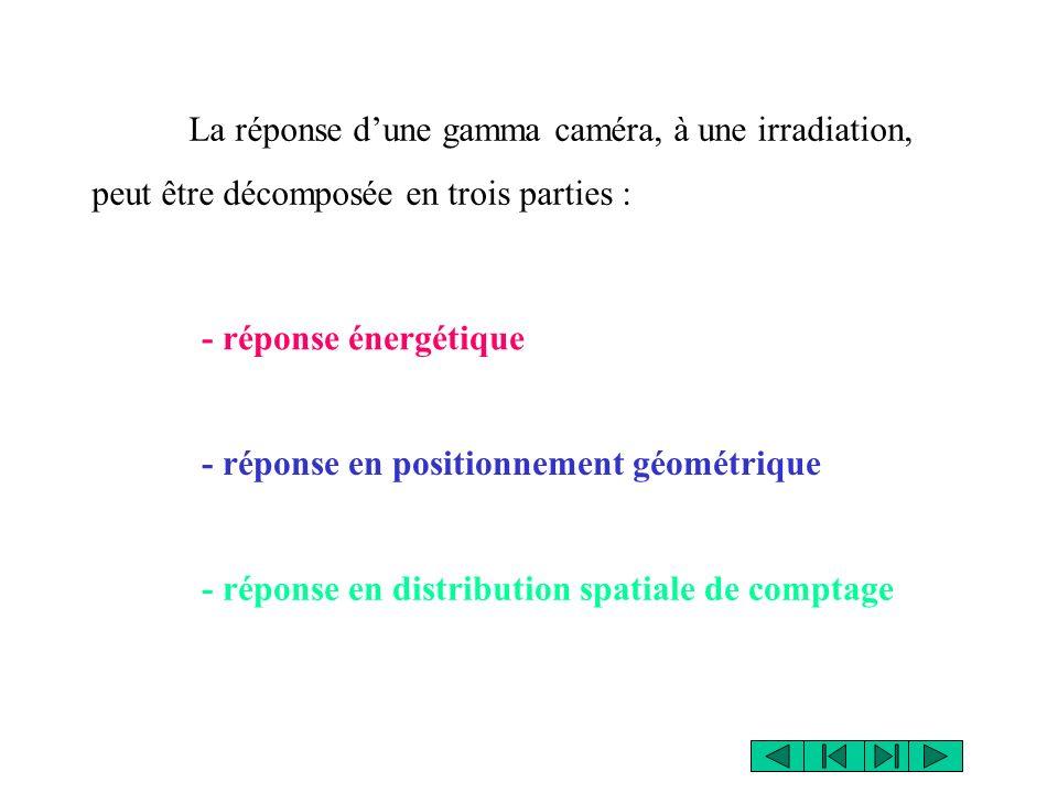La réponse dune gamma caméra, à une irradiation, peut être décomposée en trois parties : - réponse énergétique - réponse en positionnement géométrique