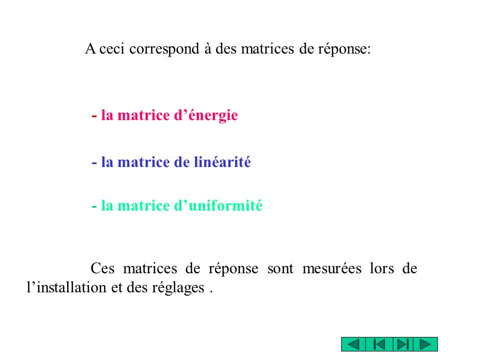 Ces matrices de réponse sont mesurées lors de linstallation et des réglages. A ceci correspond à des matrices de réponse: - la matrice dénergie - la m