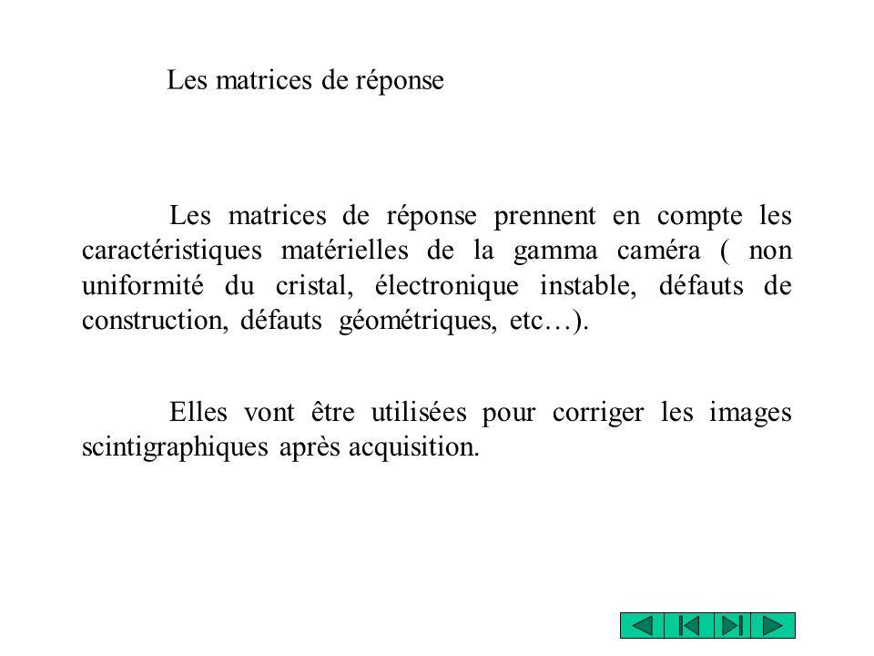 Les matrices de réponse prennent en compte les caractéristiques matérielles de la gamma caméra ( non uniformité du cristal, électronique instable, déf