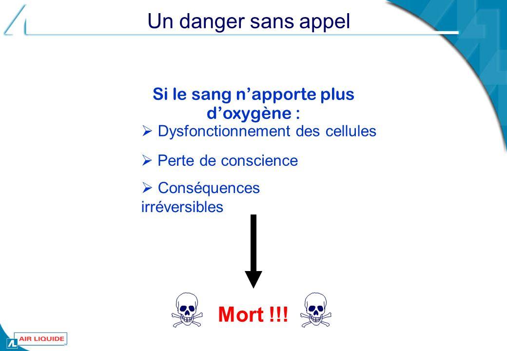 Un danger sans appel Dysfonctionnement des cellules Si le sang napporte plus doxygène : Mort !!! Perte de conscience Conséquences irréversibles