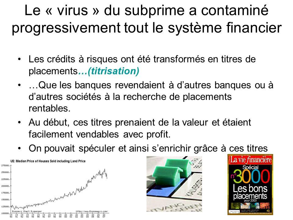 Le « virus » du subprime a contaminé progressivement tout le système financier Les crédits à risques ont été transformés en titres de placements…(titr