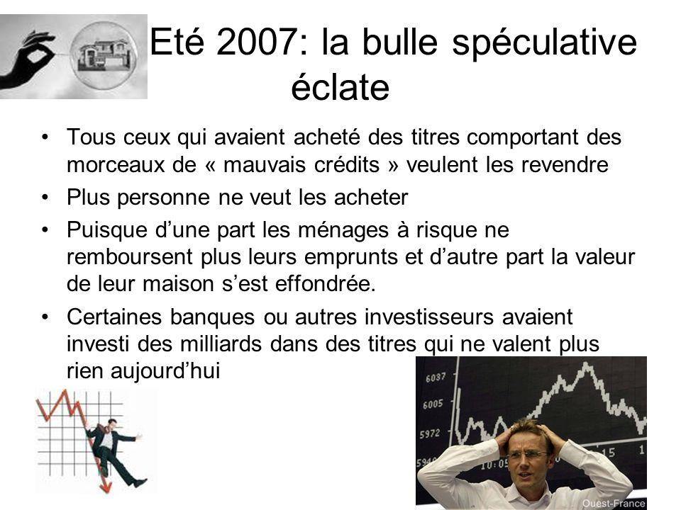 Eté 2007: la bulle spéculative éclate Tous ceux qui avaient acheté des titres comportant des morceaux de « mauvais crédits » veulent les revendre Plus