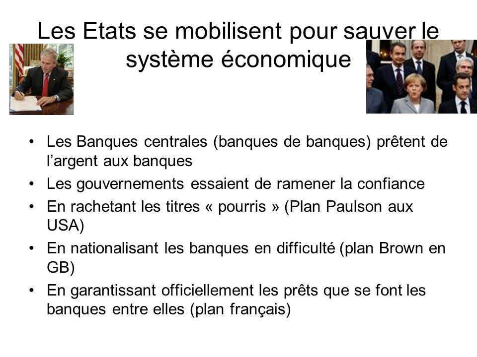 Les Etats se mobilisent pour sauver le système économique Les Banques centrales (banques de banques) prêtent de largent aux banques Les gouvernements