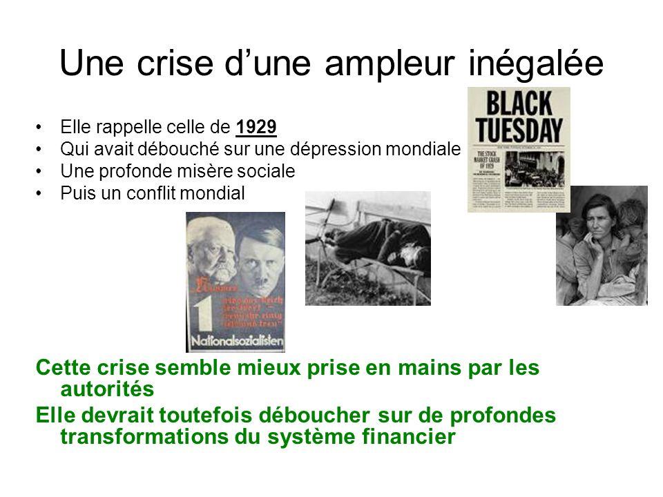 Une crise dune ampleur inégalée Elle rappelle celle de 1929 Qui avait débouché sur une dépression mondiale Une profonde misère sociale Puis un conflit