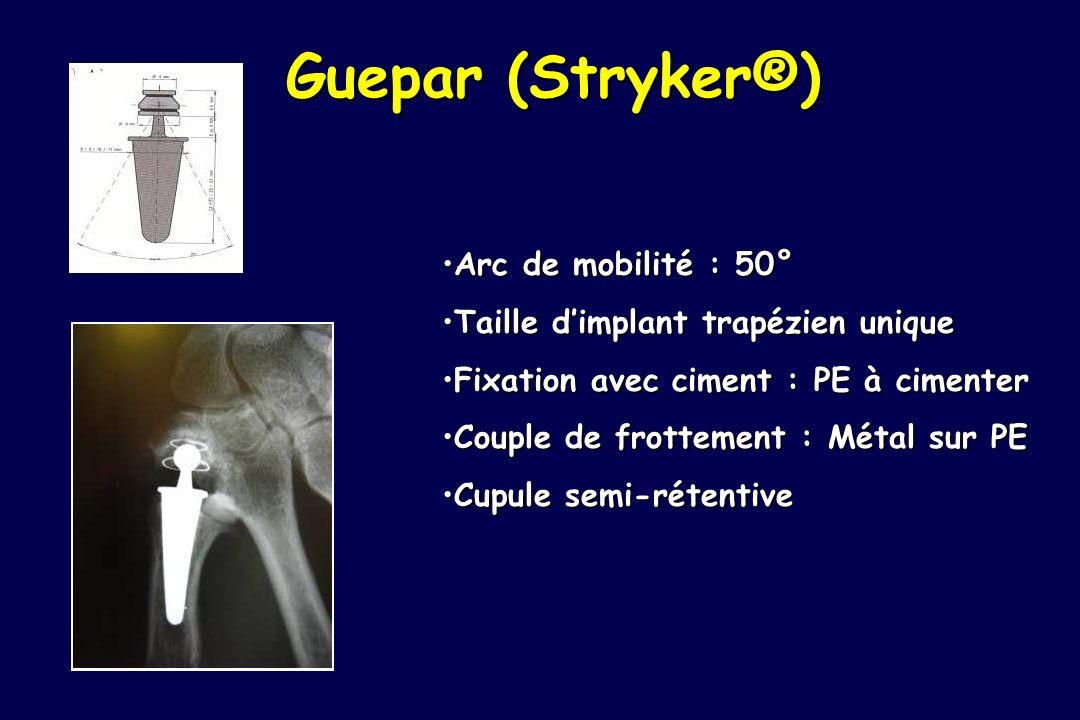 Guepar (Stryker®) Arc de mobilité : 50°Arc de mobilité : 50° Taille dimplant trapézien uniqueTaille dimplant trapézien unique Fixation avec ciment : P