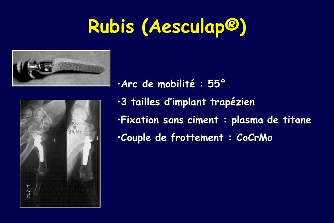 Rubis (Aesculap®) Arc de mobilité : 55°Arc de mobilité : 55° 3 tailles dimplant trapézien3 tailles dimplant trapézien Fixation sans ciment : plasma de