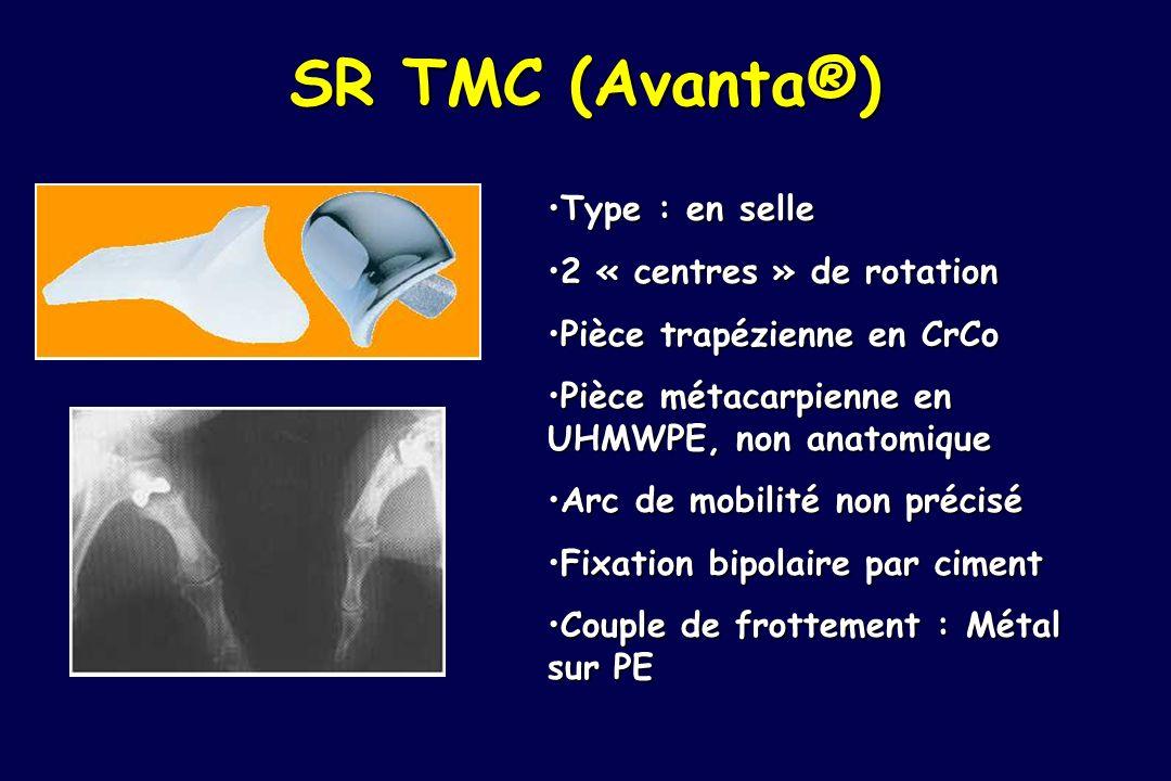 SR TMC (Avanta®) Type : en selleType : en selle 2 « centres » de rotation2 « centres » de rotation Pièce trapézienne en CrCoPièce trapézienne en CrCo
