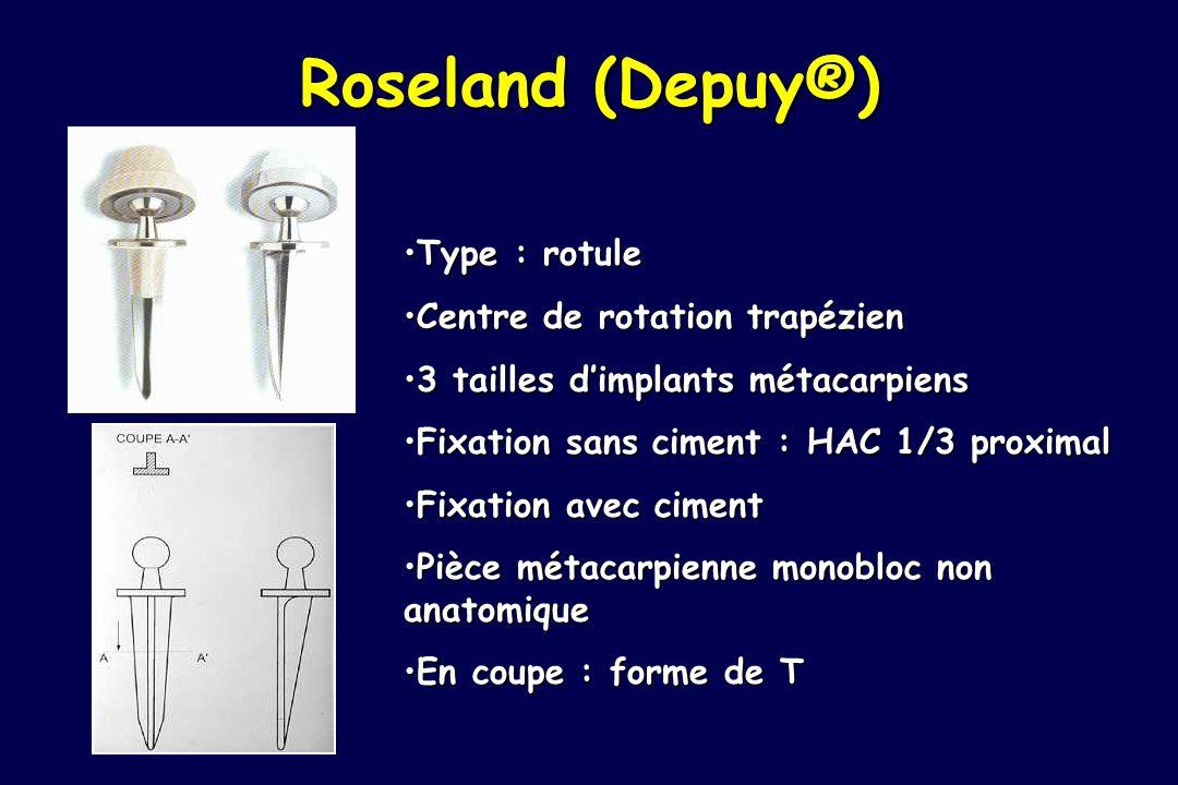 Roseland (Depuy®) Type : rotuleType : rotule Centre de rotation trapézienCentre de rotation trapézien 3 tailles dimplants métacarpiens3 tailles dimpla