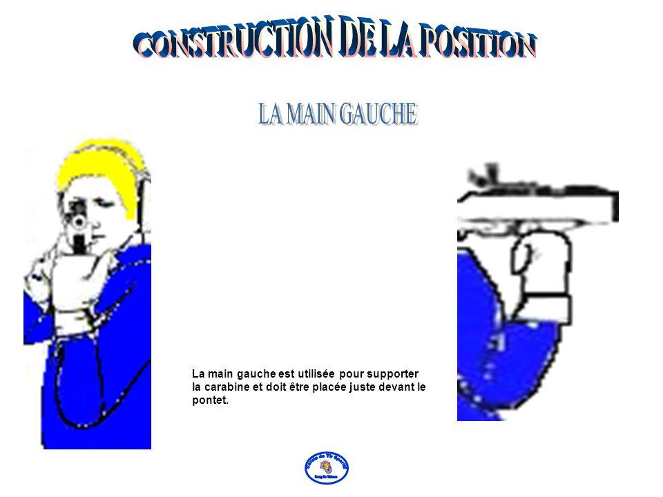 Le bras gauche est appuyé contre les côtes et le coude gauche directement sous la carabine. Les muscles du bras gauche ne doivent pas être utilisés po