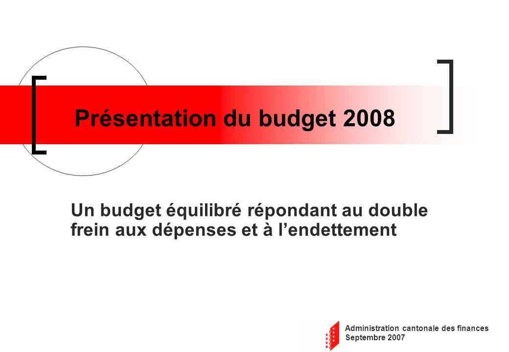 Administration cantonale des finances Septembre 2007 Présentation du budget 2008 Un budget équilibré répondant au double frein aux dépenses et à lendettement