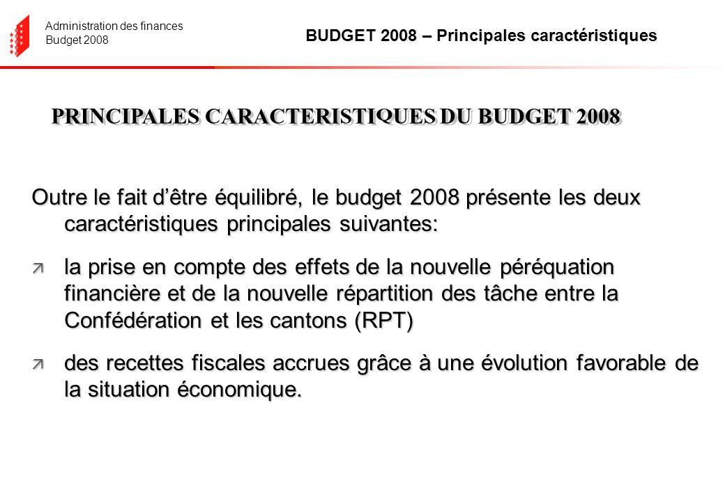Administration des finances Budget 2008 Aperçu général (sans les imputations internes) en millions de francs - chiffres arrondis Le frein aux dépenses est respecté Le frein à lendettement est respecté