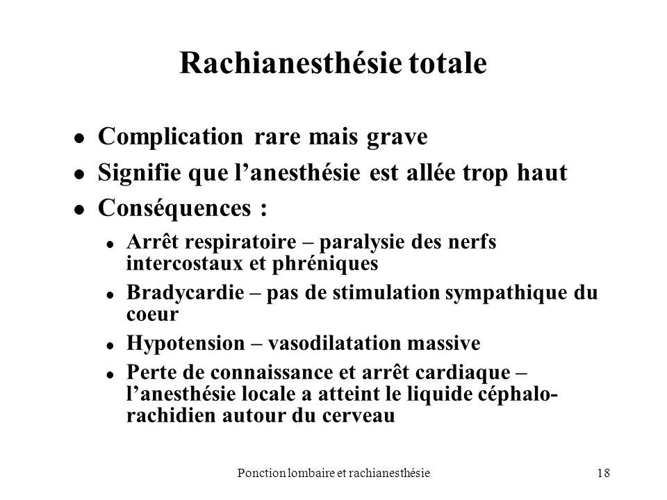 18Ponction lombaire et rachianesthésie Rachianesthésie totale Complication rare mais grave Signifie que lanesthésie est allée trop haut Conséquences :