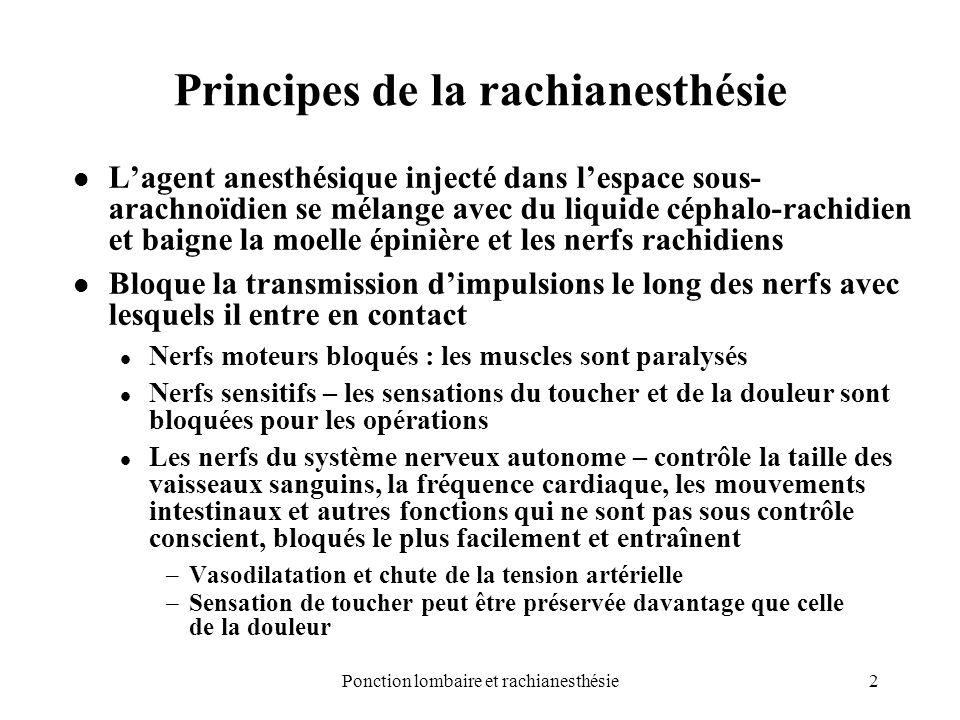 2 Principes de la rachianesthésie Lagent anesthésique injecté dans lespace sous- arachnoïdien se mélange avec du liquide céphalo-rachidien et baigne l