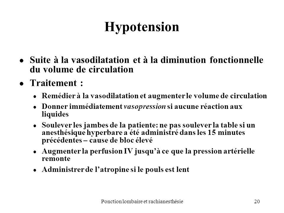 20Ponction lombaire et rachianesthésie Hypotension Suite à la vasodilatation et à la diminution fonctionnelle du volume de circulation Traitement : Re