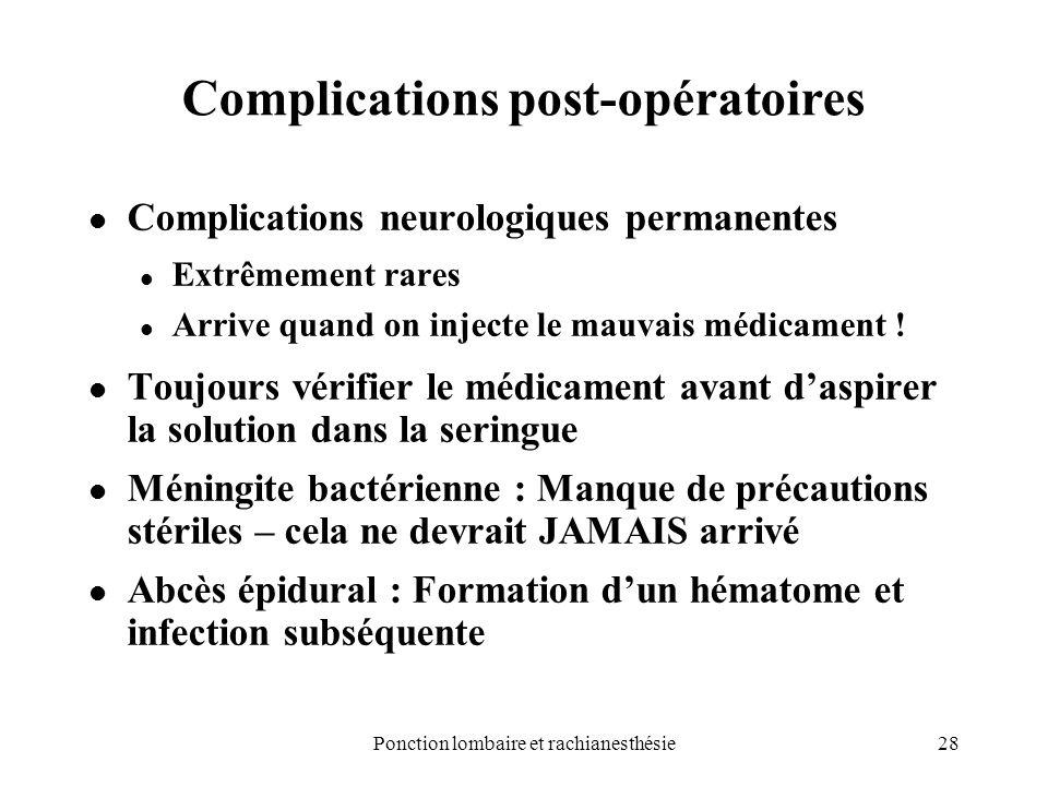 28Ponction lombaire et rachianesthésie Complications post-opératoires Complications neurologiques permanentes Extrêmement rares Arrive quand on inject