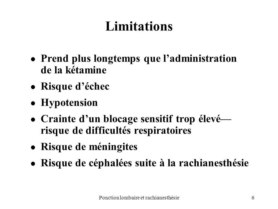 6Ponction lombaire et rachianesthésie Limitations Prend plus longtemps que ladministration de la kétamine Risque déchec Hypotension Crainte dun blocag
