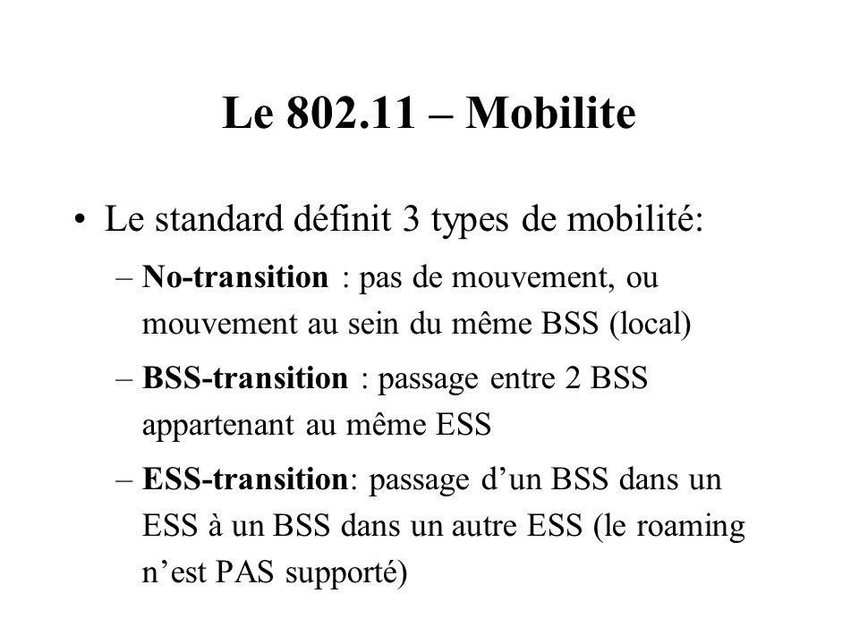 Le 802.11 – Mobilite Le standard définit 3 types de mobilité: –No-transition : pas de mouvement, ou mouvement au sein du même BSS (local) –BSS-transit