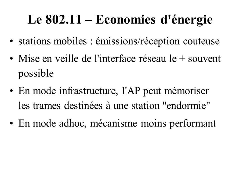 Le 802.11 – Economies d'énergie stations mobiles : émissions/réception couteuse Mise en veille de l'interface réseau le + souvent possible En mode inf