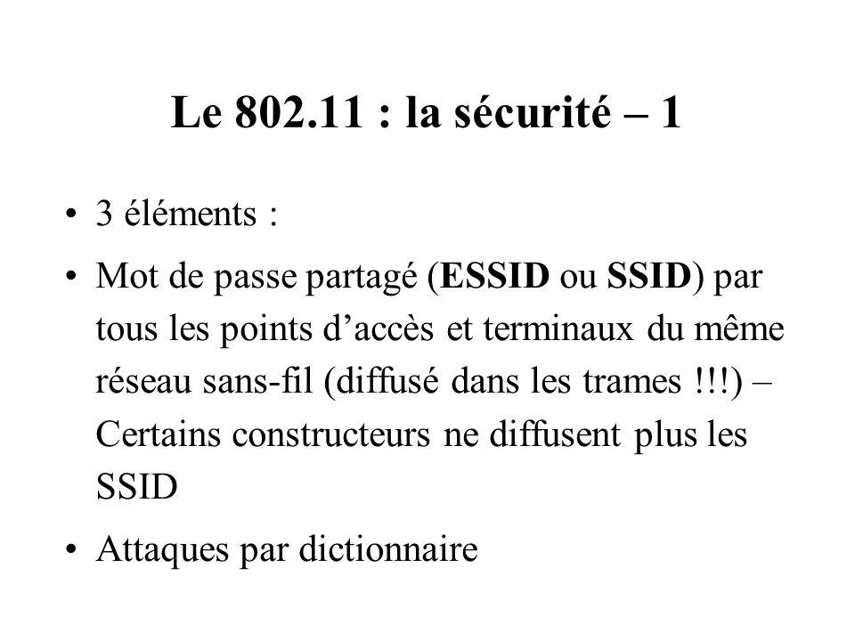 Le 802.11 : la sécurité – 1 3 éléments : Mot de passe partagé (ESSID ou SSID) par tous les points daccès et terminaux du même réseau sans-fil (diffusé