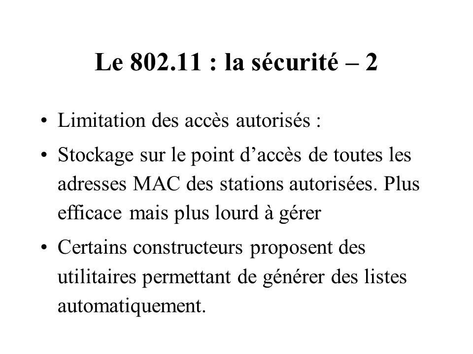 Le 802.11 : la sécurité – 2 Limitation des accès autorisés : Stockage sur le point daccès de toutes les adresses MAC des stations autorisées. Plus eff