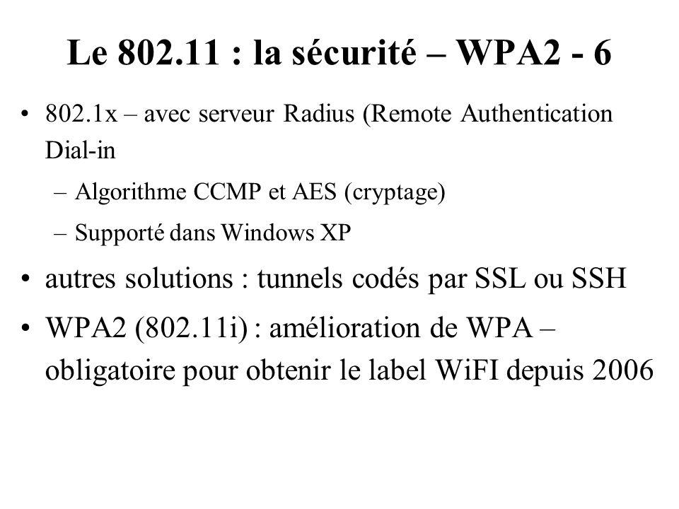 Le 802.11 : la sécurité – WPA2 - 6 802.1x – avec serveur Radius (Remote Authentication Dial-in –Algorithme CCMP et AES (cryptage) –Supporté dans Windo