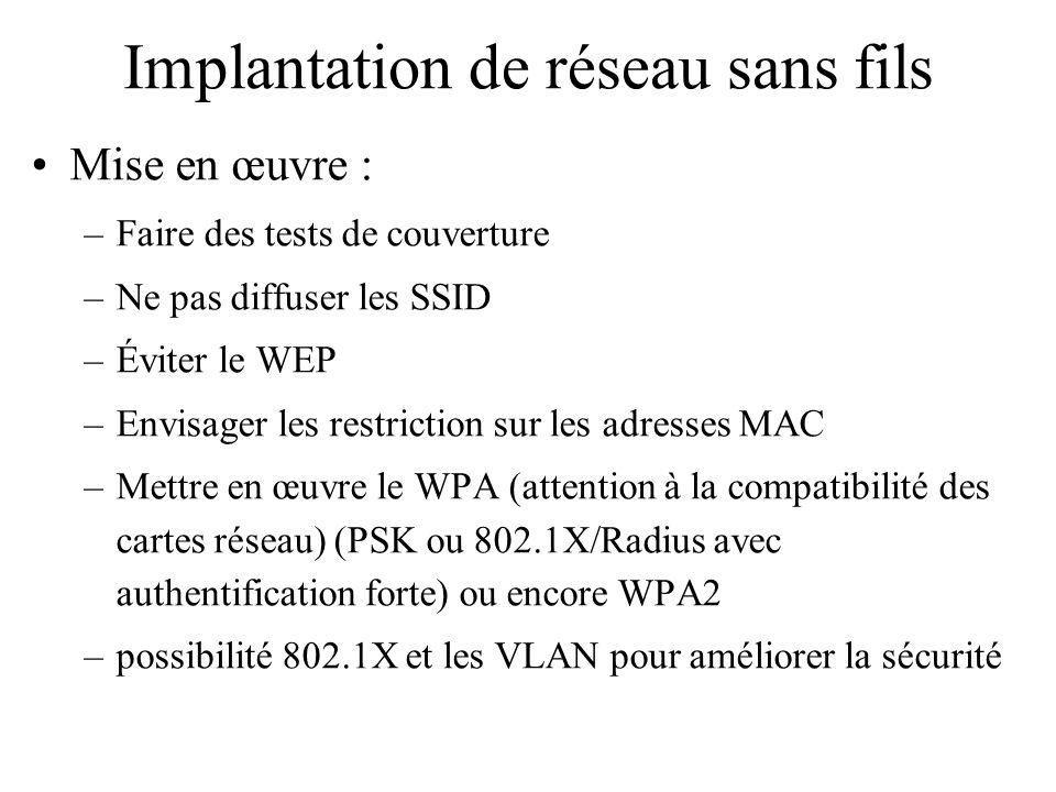 Implantation de réseau sans fils Mise en œuvre : –Faire des tests de couverture –Ne pas diffuser les SSID –Éviter le WEP –Envisager les restriction su