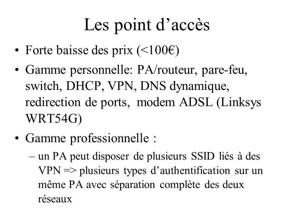 Les point daccès Forte baisse des prix (<100) Gamme personnelle: PA/routeur, pare-feu, switch, DHCP, VPN, DNS dynamique, redirection de ports, modem A