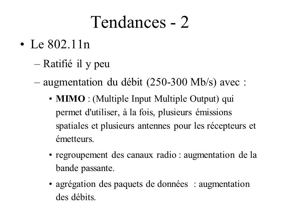 Tendances - 2 Le 802.11n –Ratifié il y peu –augmentation du débit (250-300 Mb/s) avec : MIMO : (Multiple Input Multiple Output) qui permet d'utiliser,