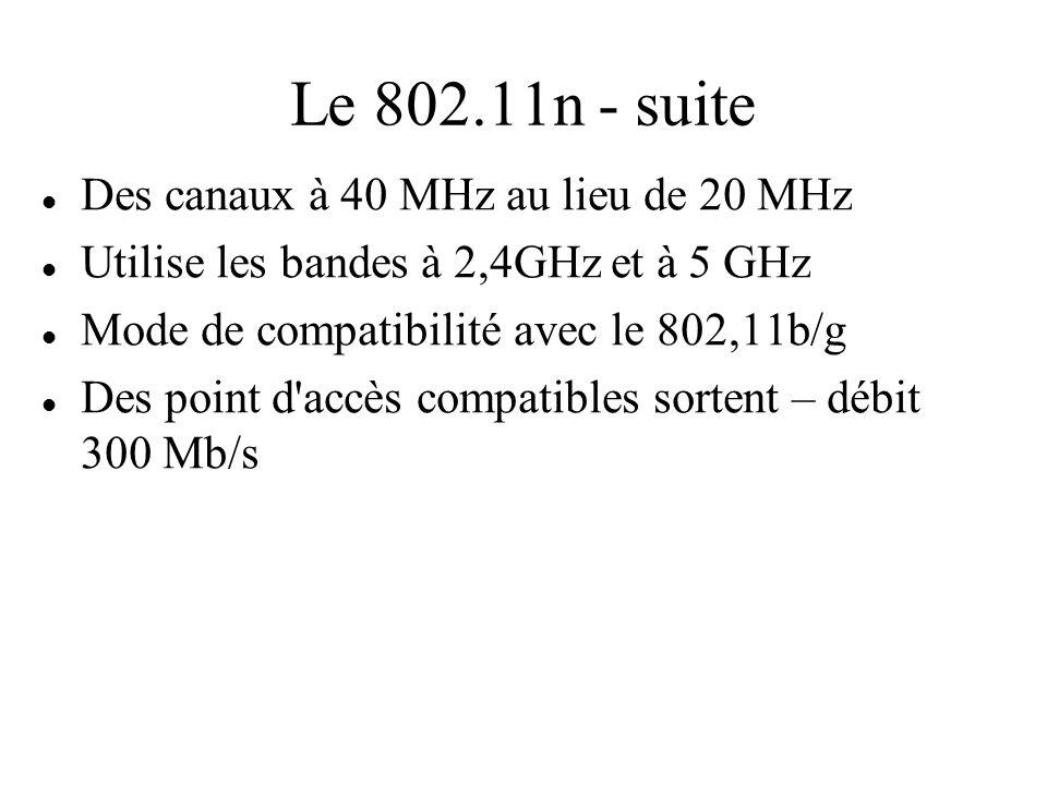 Le 802.11n - suite Des canaux à 40 MHz au lieu de 20 MHz Utilise les bandes à 2,4GHz et à 5 GHz Mode de compatibilité avec le 802,11b/g Des point d'ac