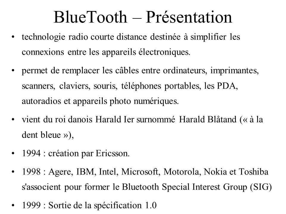 BlueTooth – Présentation technologie radio courte distance destinée à simplifier les connexions entre les appareils électroniques. permet de remplacer
