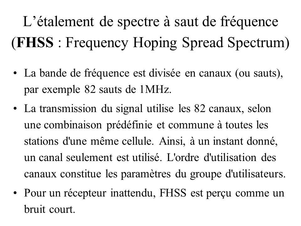 Létalement de spectre à saut de fréquence (FHSS : Frequency Hoping Spread Spectrum) La bande de fréquence est divisée en canaux (ou sauts), par exempl
