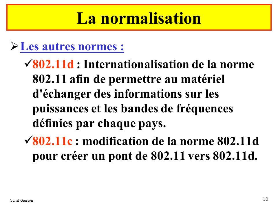 Yonel Grusson 10 Les autres normes : 802.11d : Internationalisation de la norme 802.11 afin de permettre au matériel d'échanger des informations sur l