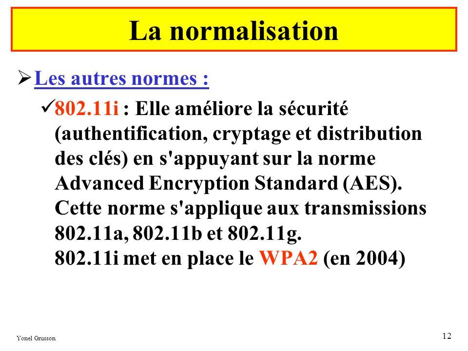 Yonel Grusson 12 Les autres normes : 802.11i : Elle améliore la sécurité (authentification, cryptage et distribution des clés) en s'appuyant sur la no